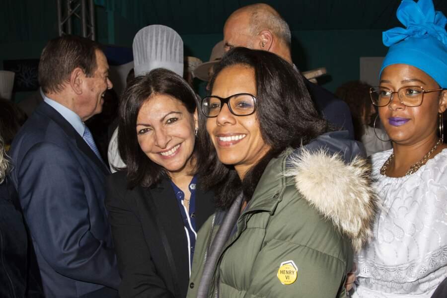 Anne Hidalgo et Audrey Pulvar, à l'inauguration de la 5ème éddition du salon de la gastronomie des Outre-Mer et de la francophonie à Paris, le 31 janvier 2020.
