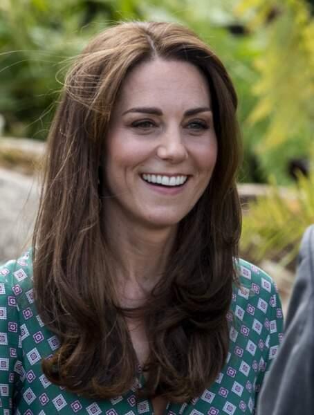 Kate Middleton au naturel avec les cheveux longs, lisses en juin 2019.