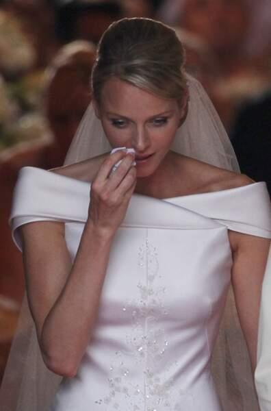 La princesse Charlène, très émue.