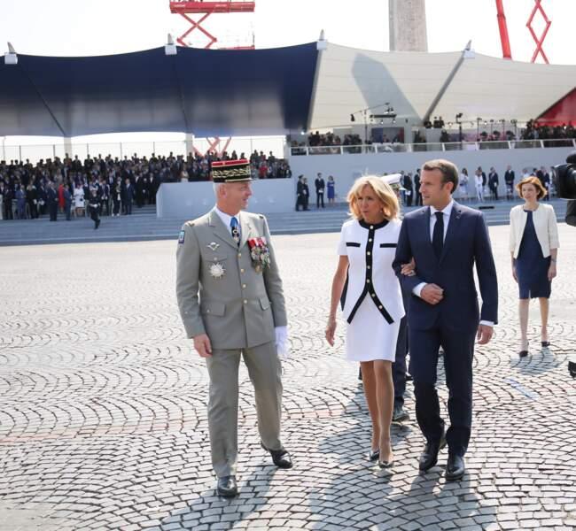 Brigitte et Emmanuel Macron, place de la Concorde, pour le défilé du 14 juillet 2018.