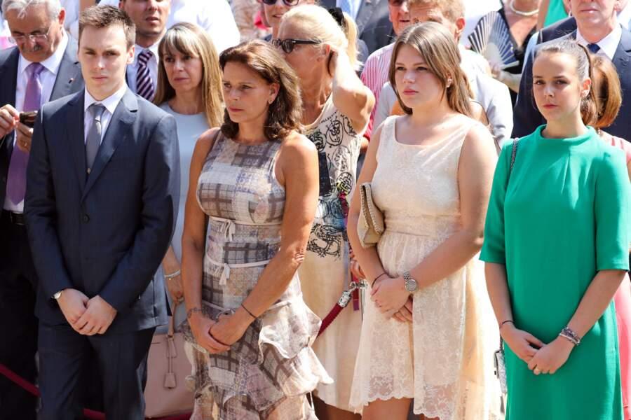 Louis Ducruet, la princesse Stéphanie de Monaco, Camille Gottlieb, Pauline Ducruet tous très chic pour fêter les 10 ans de règne du prince Albert II de Monaco à Monaco, le 11 juillet 2015.