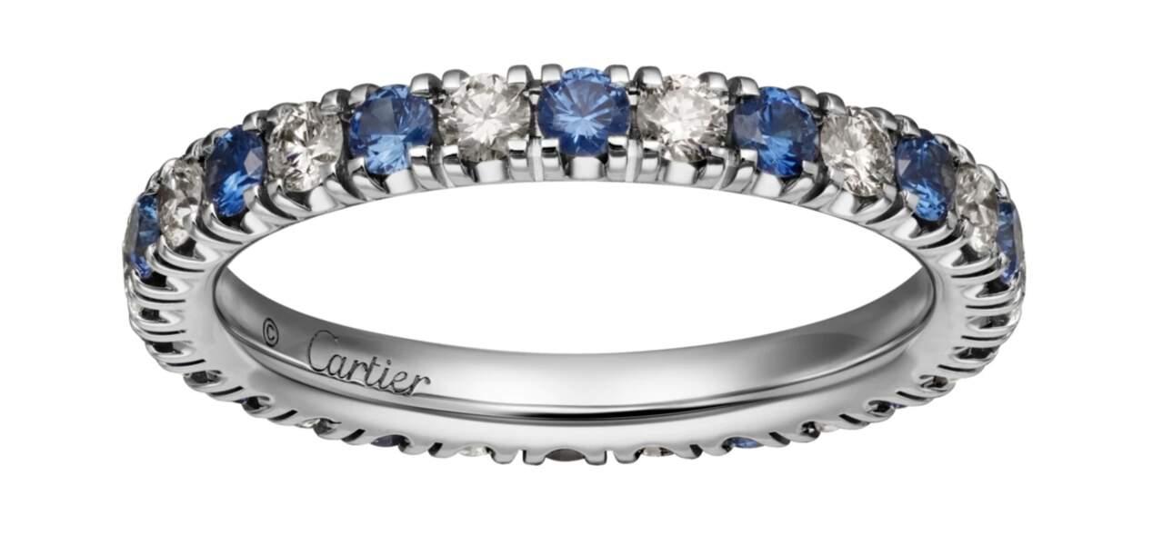 Bague en platine, saphirs et diamants, 7750€, Cartier