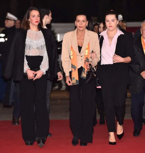 Camille Gottlieb toujours très proche de sa maman, Stéphanie de Monaco et de sa sœur, Pauline Ducruet, le19 janvier 2019 pour le 43ème Festival International du Cirque de Monte Carlo.
