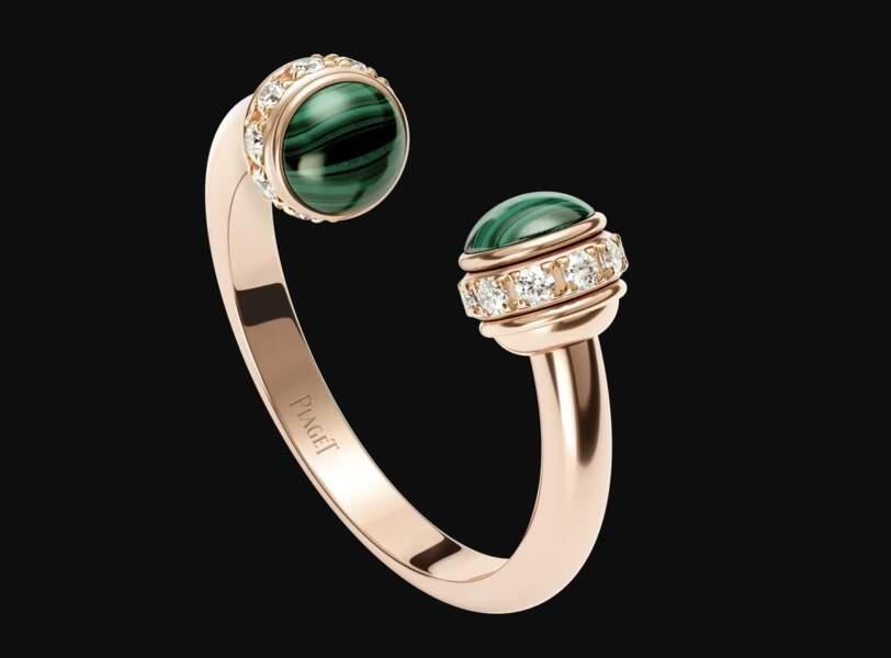 Bague en or rose, diamants et malachite