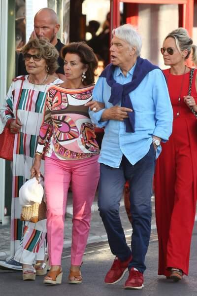 Bernard Tapie et sa femme Dominique se sont promenés dans Saint-Tropez, ce 15 juillet 2020.
