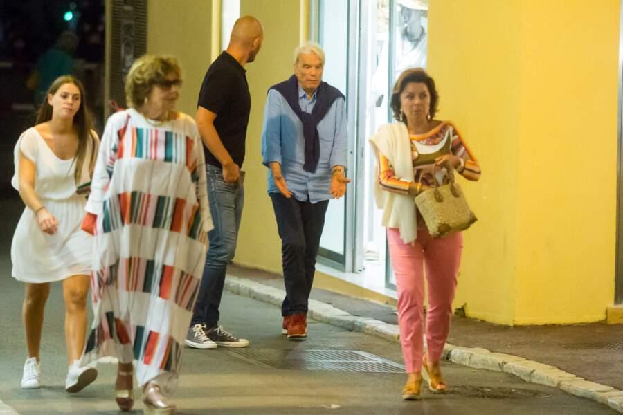 """Bernard Tapie et sa femme Dominique sont allés dîner au restaurant """"Le Girelier"""" à Saint-Tropez, le 15 juillet 2020."""