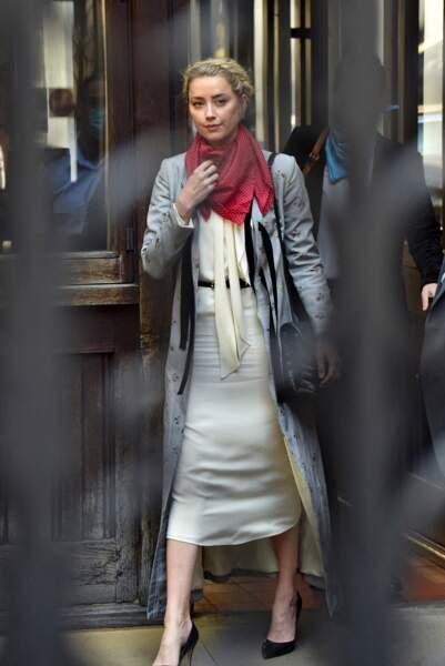 Amber Heard arrive à la cour royale de justice à Londres, pour le procès en diffamation contre le magazine The Sun Newspaper, le 21 juillet.