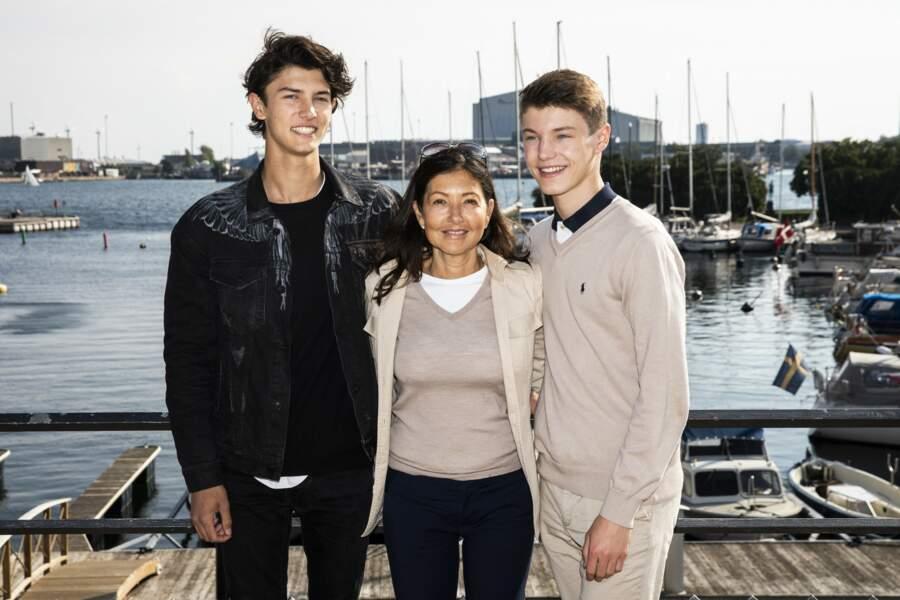 La comtesse Alexandra et ses fils le prince Nikolai et le prince Felix de Danemark le 9 septembre 2018