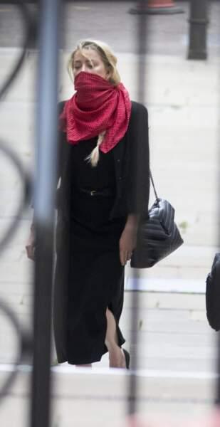 Amber Heard, à son arrivée à la cour royale de justice à Londres, pour le procès en diffamation contre le magazine The Sun, le 13 juillet 2020.
