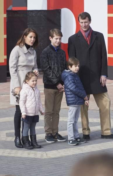 Le prince Joachim, la princesse Marie et leurs enfants, le prince Felix, le prince Henrik et la princesse Athena le 19 mars 2016