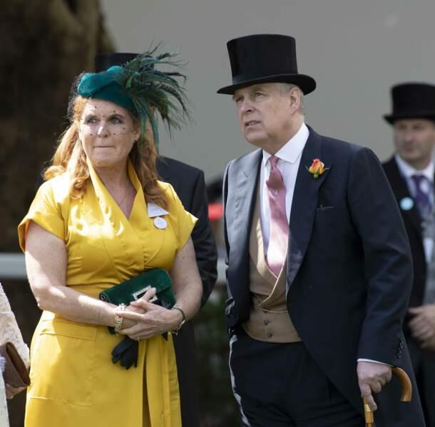 Sarah Ferguson et le prince Andrew assistent aux courses de chevaux à Ascot, le 21 juin 2019.