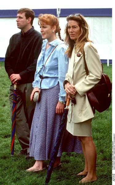 Le prince Andrew, Sarah Ferguson, et Susan Barrantes, au Windsor Horse Show, en septembre 1998.