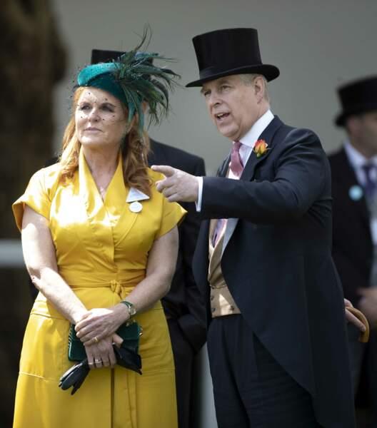 Sarah Ferguson et le prince Andrew, duc d'York lors d'une course de chevaux à Ascot en 2019.
