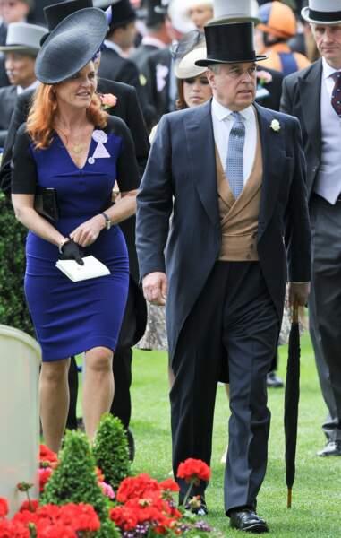 Sarah Ferguson et le prince Andrew, duc d'York lors d'une course dee chevaux à Ascot en 2015.