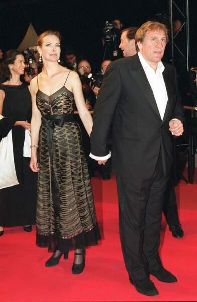 Gérard Depardieu et Carole Bouquet lors du festival de Cannes en 2001.