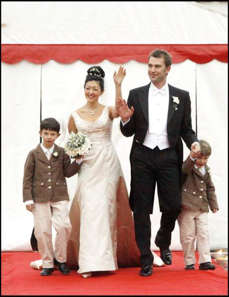 Les princes Nikolai et Felix, lors du deuxième mariage de leur mère, Alexandra avec Martin Joergensen, en 2007.