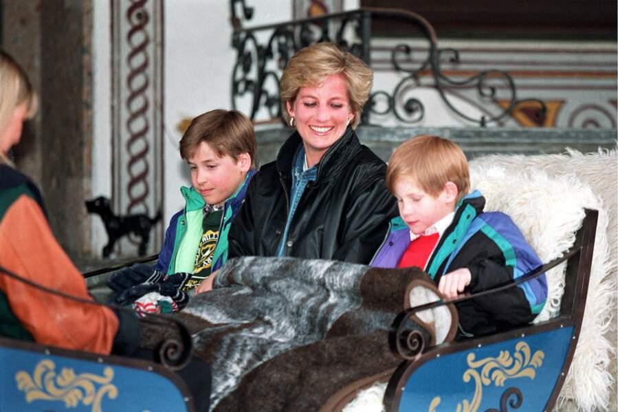 Fou rire des princes William et Harry aux côtés de leur mère Lady Diana en Autriche. Le temps de l'insouciance.