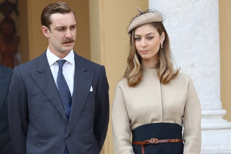 Pierre Casiraghi et sa femme Beatrice Borromeo, très élégante en Dior lors de la fête nationale , à Monaco, le 19 novembre 2017.