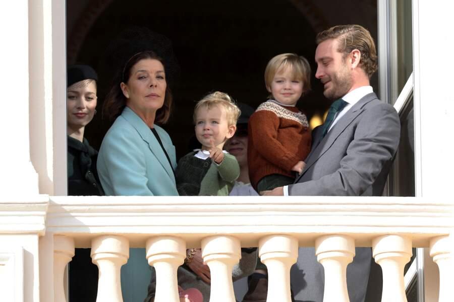 Beatrice Borromeo Pierre Casiraghi, leur deux fils Francesco et Stefano et la princesse Caroline de Hanovre, le 19 novembre 2019.