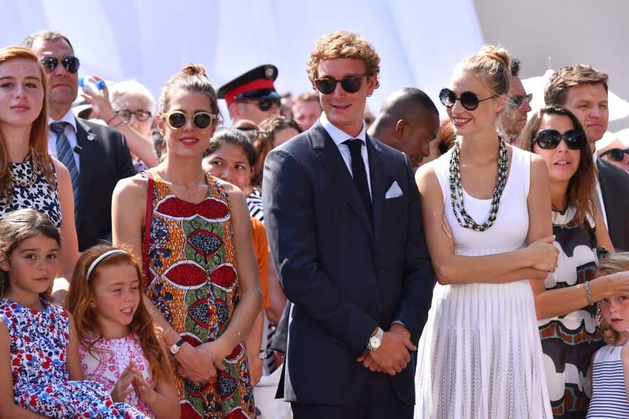 Pierre Casiragh et Beatrice Borromeo réuni avec la famille princière pour les 10 ans de règne du prince Albert II à Monaco, le 11 juillet 2015.