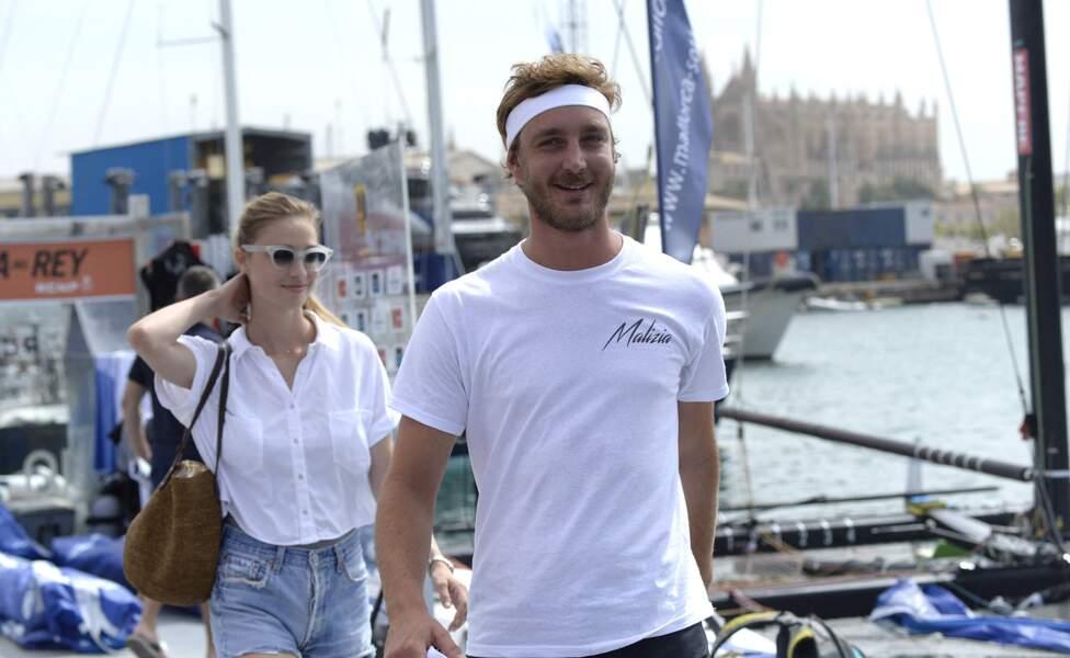 Pierre Casiraghi et sa femme Beatrice Borromeo au Club Nautique de Palma de Majorque le 2 août 2017