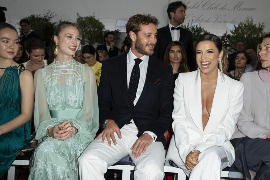 Beatrice Borromeo, Pierre Casiraghi avec Alexandra de Hanovre et Eva Longoria à Monaco en mai 2019.