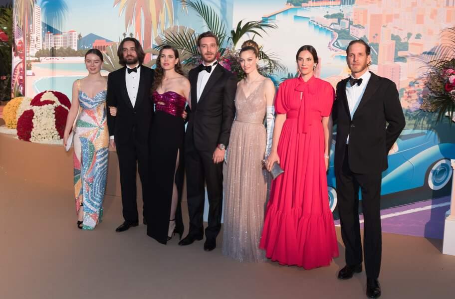 Beatrice Borromeo et Pierre Casiraghi avec toute la famille princière en mars 2019 pour le Bal de la rose.