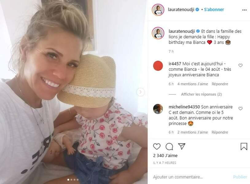 Guérie du coronavirus, Laura Tenoudji passe ses vacances d'été en compagnie de ses enfants, souhaitant ainsi un heureux troisième anniversaire à sa petite Bianca, ce mardi 4 août
