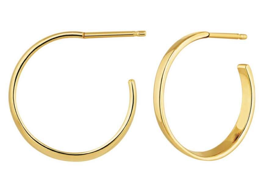 Boucles d'oreilles argent plaqué or, 89€, Aristocrazy