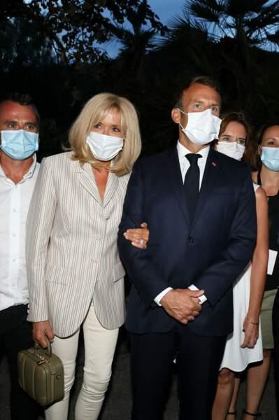 Emmanuel et Brigitte Macron Macron ont assisté à la cérémonie du 76ème anniversaire de la libération de la ville de Bormes-les-Mimosas, ce lundi 17 août 2020