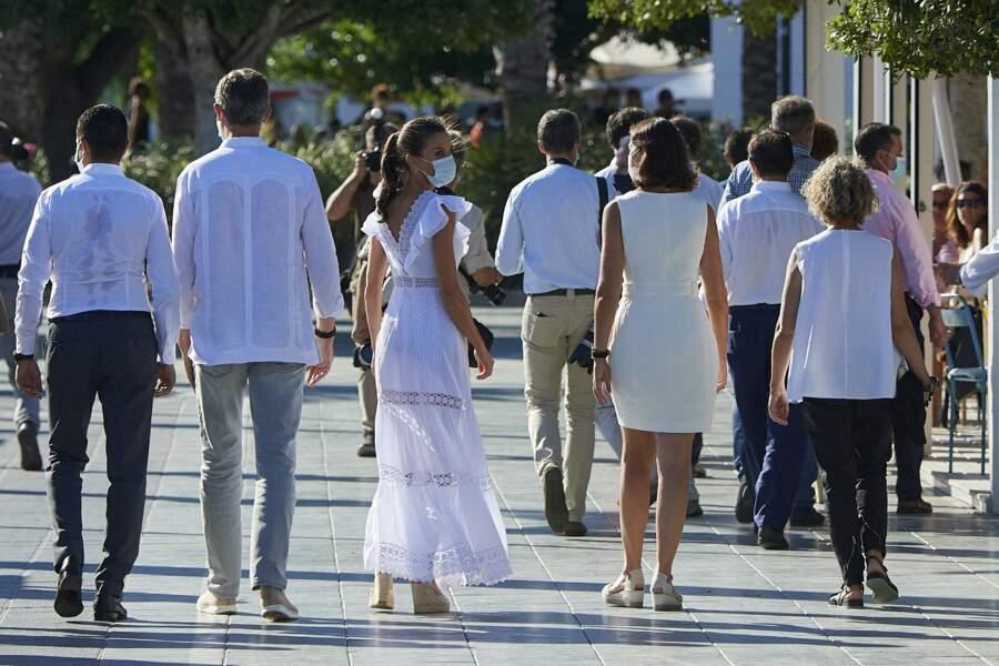 Le roi Felipe VI d'Espagne et la reine Letizia, lors d'une visite officielle à Ibiza le 17 août 2020.