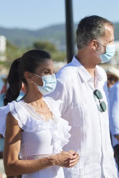 Letizia et Felipe VI en visite à la Nécropole punique de Puig des Molins à Ibiza le 17 août 2020.