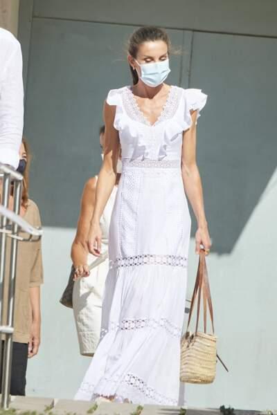 La reine Letizia d'Espagne, à Ibiza le 17 août 2020.