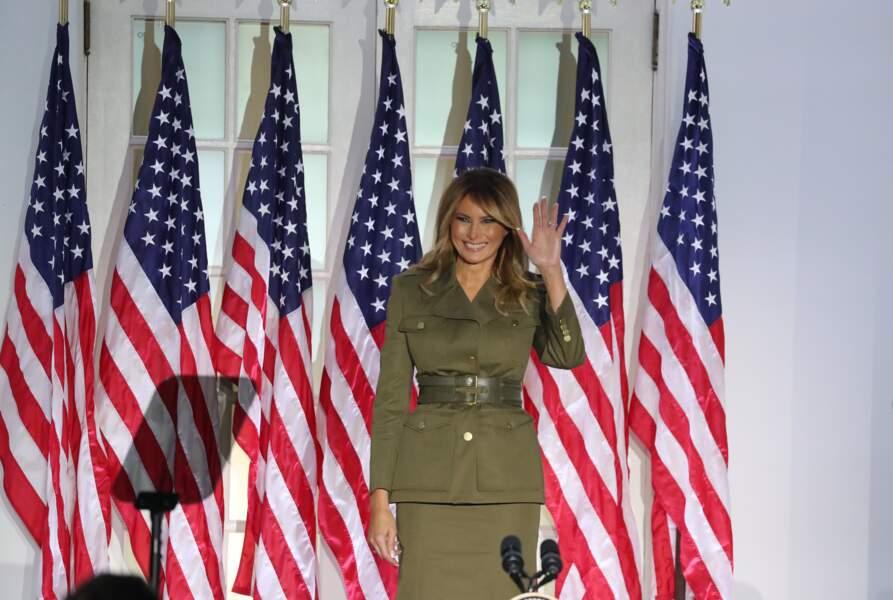 Melania Trump a choisi Alexander McQueen pour son discours à la convention républicaine le 25 août 2020.