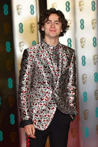 Timothée Chalamet en veste à motifs à la 72ème cérémonie annuelle des BAFTA Awards