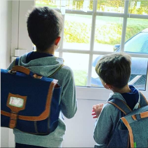 L'ancien candidat de la Star Academy, Mathieu Johann, accompagnait ses deux fils, Louis et Marin, à l'école.