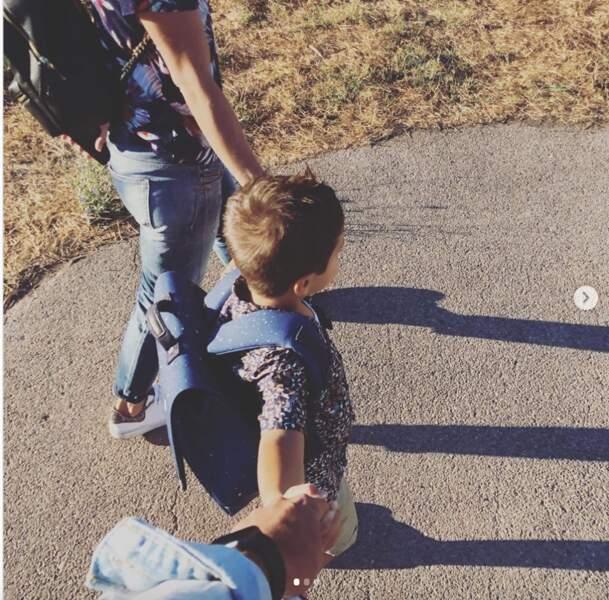 Le danseur Christophe Licata était présent pour son fils à l'école ce matin.