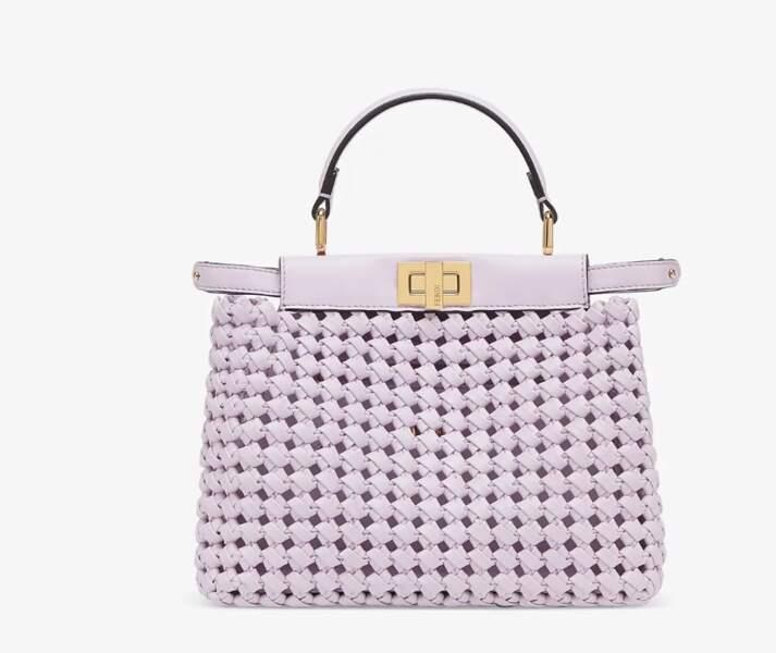 "Sac Mini ""Peekaboo"" couleur lilas tressé, 3.700€, Fendi"