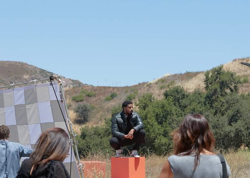 Michael B Jordan lors du tournage de la campagne Coach porte la nouvelle collection homme de la marque.