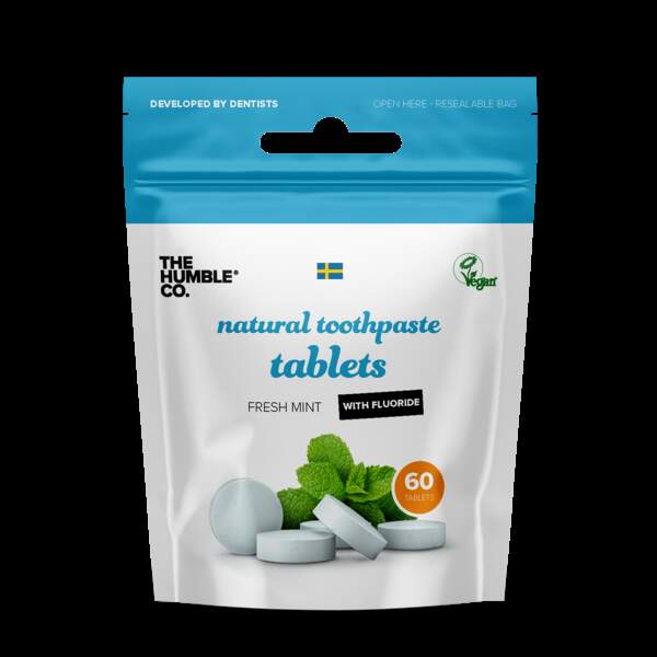 Dentifrice Solide, The Humble Co, Sachet 60 tablettes, 6€99, en magasins bio et pharmacies