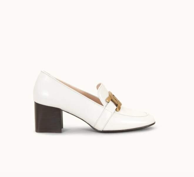 Escarpin Kate en cuir blanc, 670€, Tod's