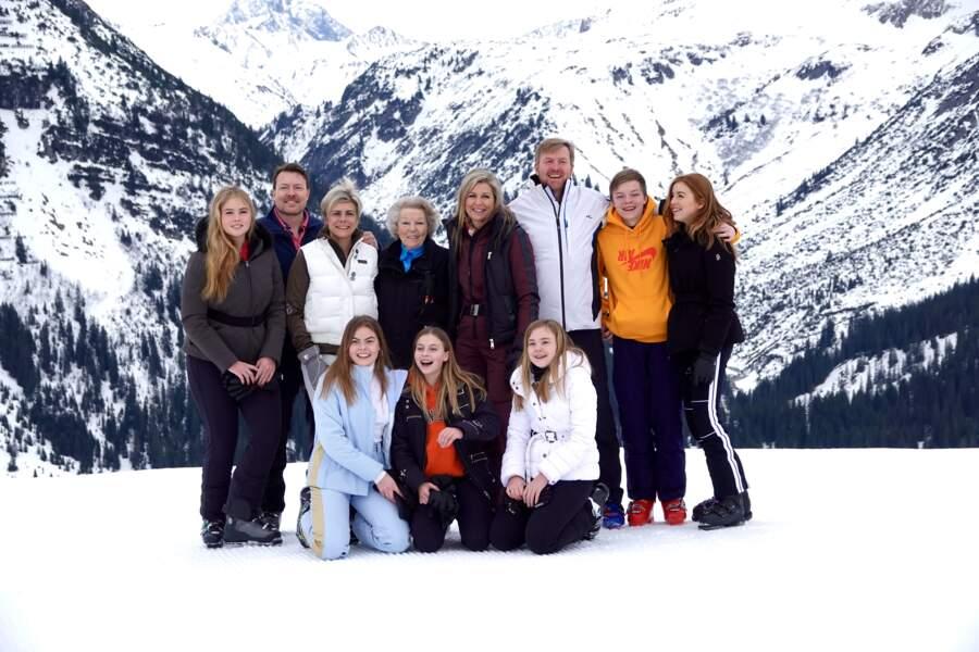 La famille royale des Pays-Bas lors d'un séjour dans la station de sports d'hiver de Lech, en Autriche, en février 2020