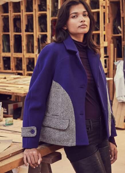 Veste bimatière en laine mélangée et tweed Miko Miko, pull Fête Impériale, jean Levi's. Cuissardes Balmain.