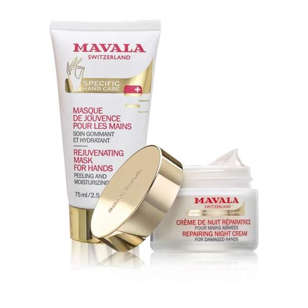 Masque de jouvence et crème de nuit réparatrice, Mavala, 27€ et 38€