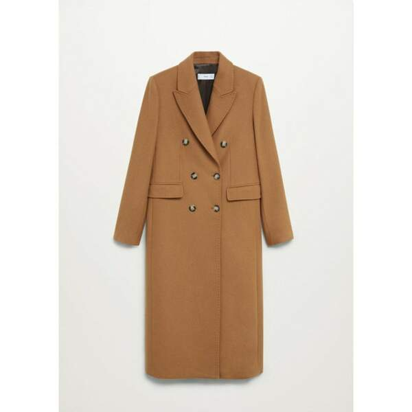 Manteau croisé laine, 199,99€, Mango sur La Retoude
