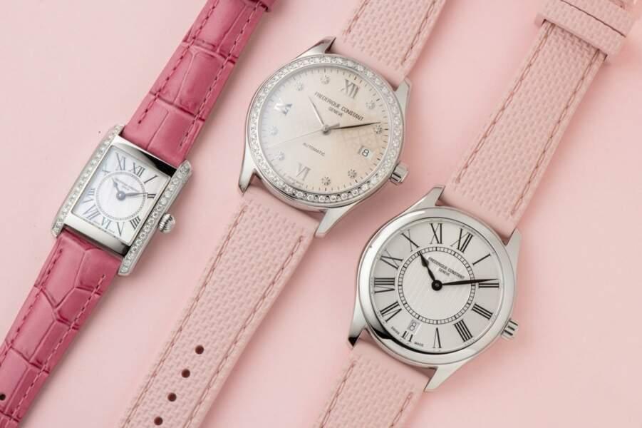 Montres Ladies Classics Quartz à 595€, La Classics Carrée Ladies 1695€, La Ladies Automatic, 2 795€, Frédérique Constant