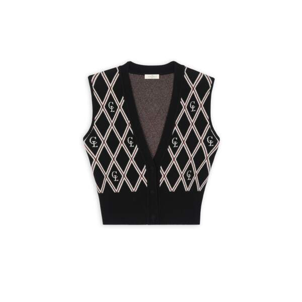 Cardigan sans manches, 175€, Sandro Paris