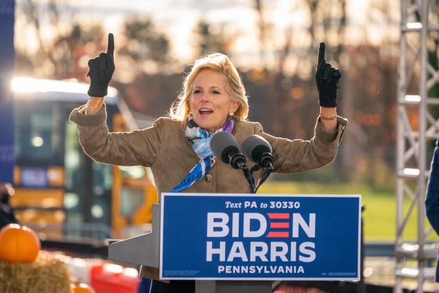 Jill Biden en campagne pour son mari le 24 octobre 2020, à Dallas.
