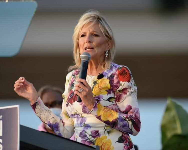 Jill Biden, l'épouse de Joe Biden, en meeting politique pour soutenir son mari à Boca Raton, Floride le 5 octobre 2020.