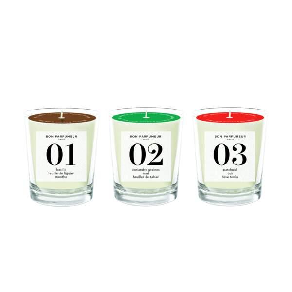 Trio de mini bougies 01,02,03, Bon Parfumeur, 3 x 70 g, 65€, bonparfumeur.Com